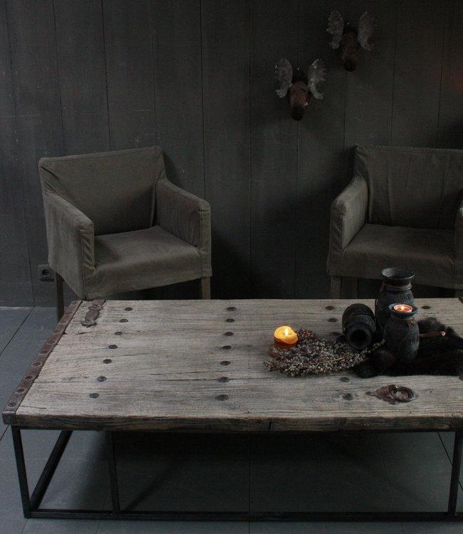 Oud houten salontafel India oude deur 166x93 cm