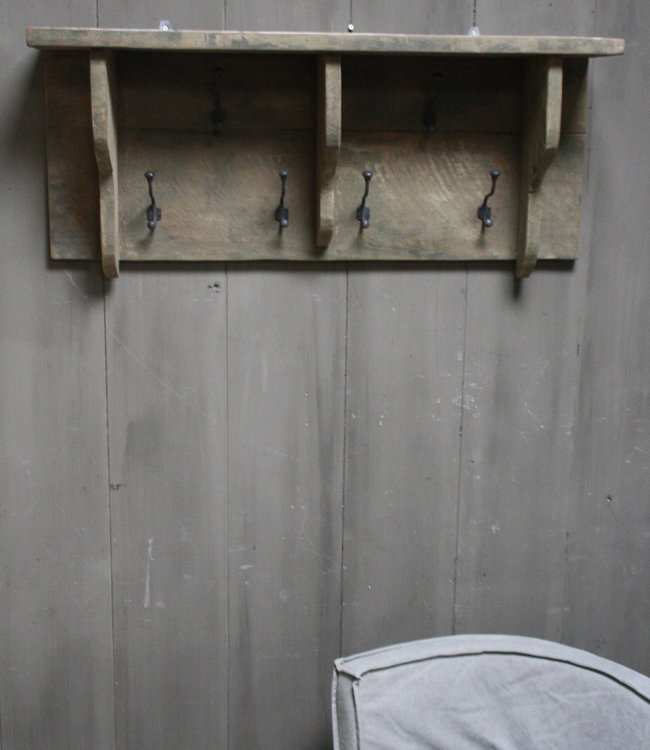 Rene Houtman Kapstok oud teak hout 6 haaks 100 x 40 cm