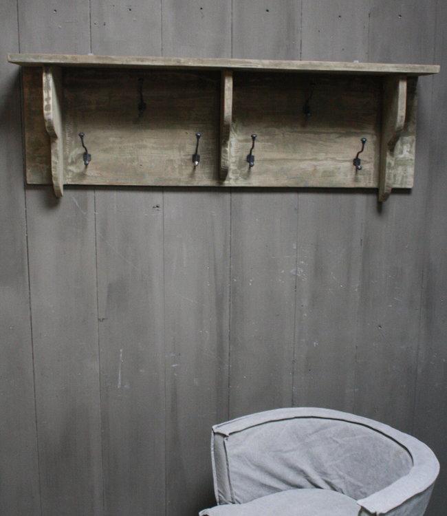 Rene Houtman Kapstok oud teak hout 6 haaks 130 x 40 cm
