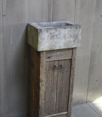 Rene Houtman Geesje toiletmeubel oud eiken + natuurstenen bak