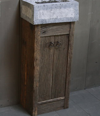 Rene Houtman Geesje toiletmeubel oud eiken + gefrijnde bak 90 cm