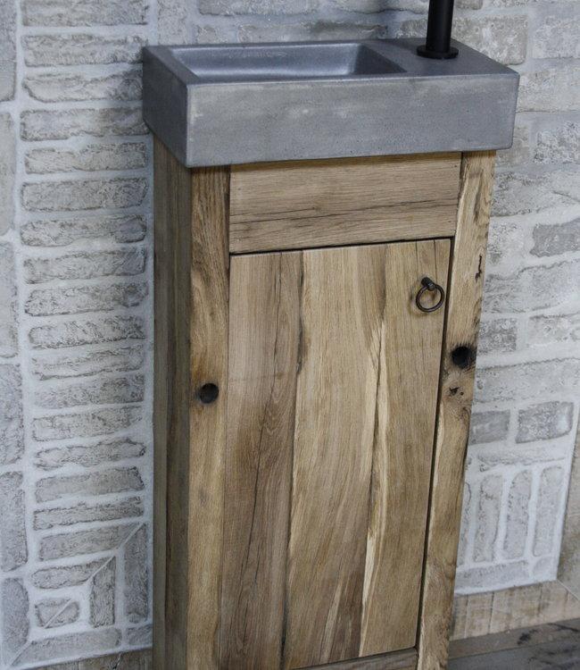 Rene Houtman Toiletmeubel oud eikenhout landelijk geschaafd - 1 deur - 90 cm