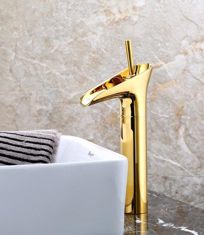 Rene Houtman Elli Waterval Hoge opzetkraan Goud Toilet 32 cm