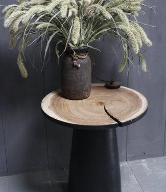 Rene Houtman Bijzettafel Hout Zwart Blank Top | H53 x B49 cm