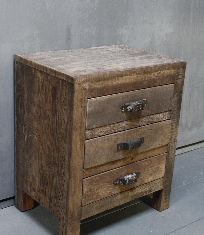 Rene Houtman Oud houten nachtkastje 3 lades 50x35x60 cm
