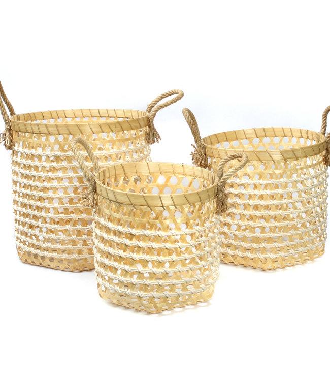 Bazar Bizar Bamboo Wasmanden - Naturel Wit - Set van 3