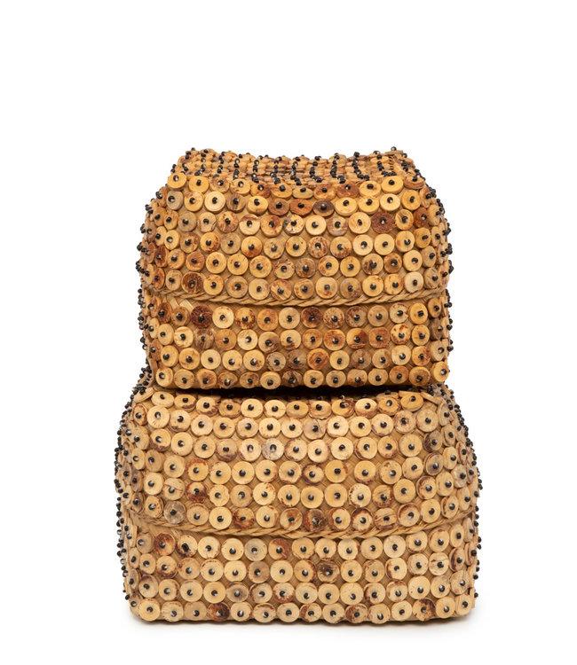Bazar Bizar Coconut Shell Square Basket - 2 stuks