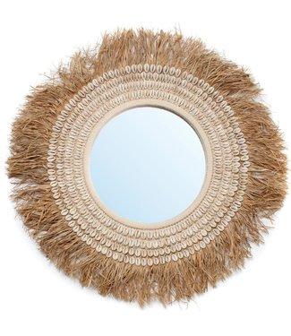 Bazar Bizar The Raffia Cowrie Mirror - Naturel Wit