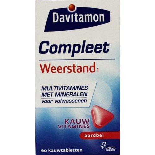 Davitamon Compleet weerstand kauwvitamines aardbei (60tb)
