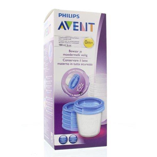 Avent Avent Via voorraadbeker moedermelk 5 stuks + deksel (180ml)