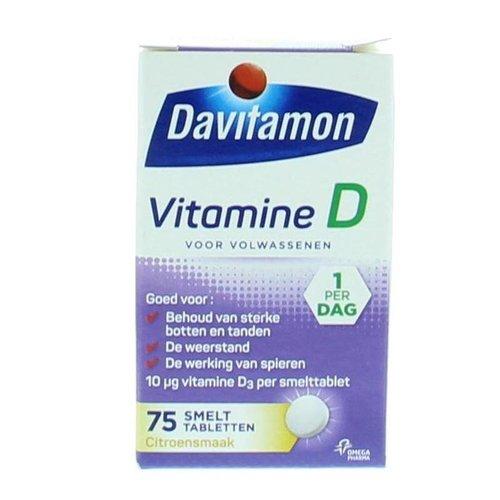 Davitamon Vitamine D3 (Cholecalciferol) Volwassen smelttablet (75tb)