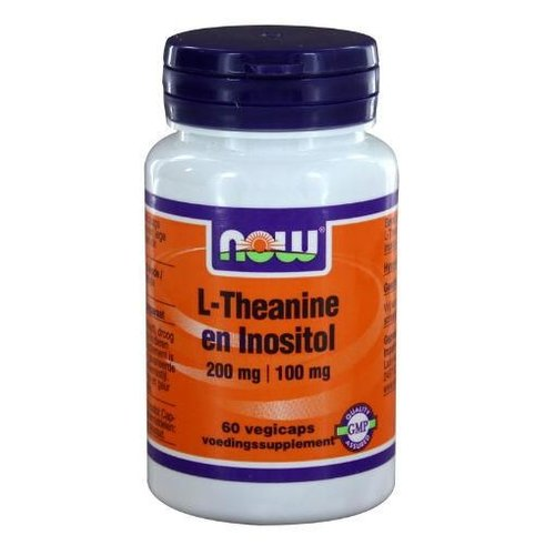 NOW NOW L-Theanine 200 mg met Inositol 100 mg (60vc)