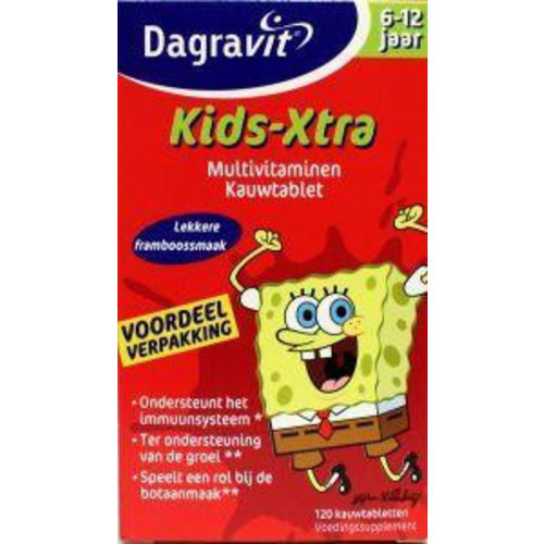Dagravit Dagravit Multi kids framboos 6-12 jaar (120kt)