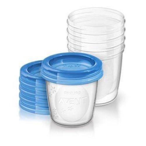 Avent Avent Via voorraadbeker moedermelk 5 stuks + deksel (240ml)