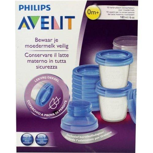 Avent Avent Via voorraadbeker moedermelk set & adapt SCF618/10 (1set)
