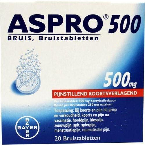 Aspro Acetylsalicylzuur bruis 500 mg (20tb)