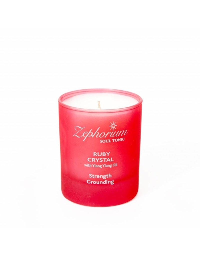 Zephorium Soul Tonic Ruby Crystal Affirmation Candle