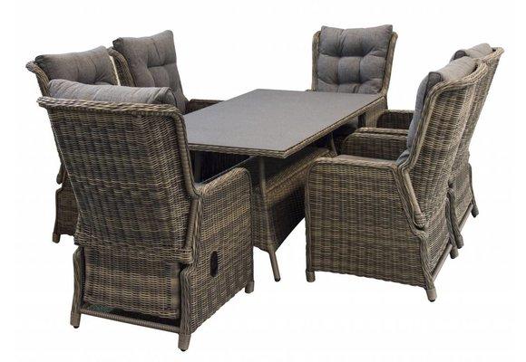 7-delige tuinset | 6 Dublin verstelbare stoelen (SW) | 180cm tuintafel (Keramiek)