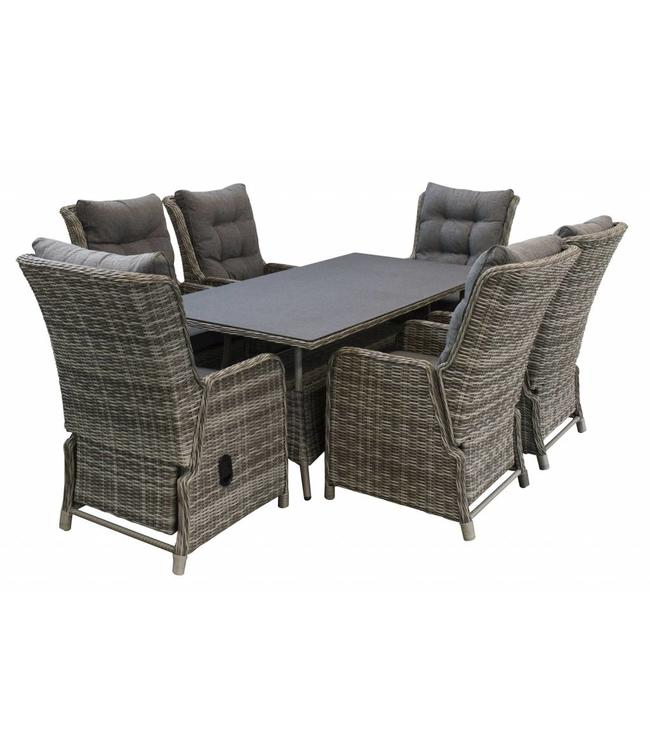 4 Seizoenen Tuinmeubelen Dublin 7-delige tuinset met 6 verstelbare stoelen en 180cm tafel (Ash Grey)