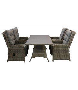 4 Seizoenen Tuinmeubelen Dublin 5-delige  tuinset met verstelbare stoelen en 160cm tafel (SW)