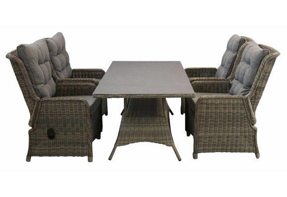 5-delige tuinset | 4 Dublin verstelbare stoelen (SW) | 160cm tuintafel (Keramiek)
