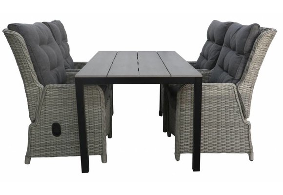 5-delige tuinset | 4 Dublin verstelbare stoelen (MG) | 160 of 180cm Cyprus tuintafel (Grey)