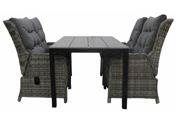 5-delige tuinset | 4 Dublin verstelbare stoelen (AG) | 160 of 180cm Cyprus tuintafel (Grey)