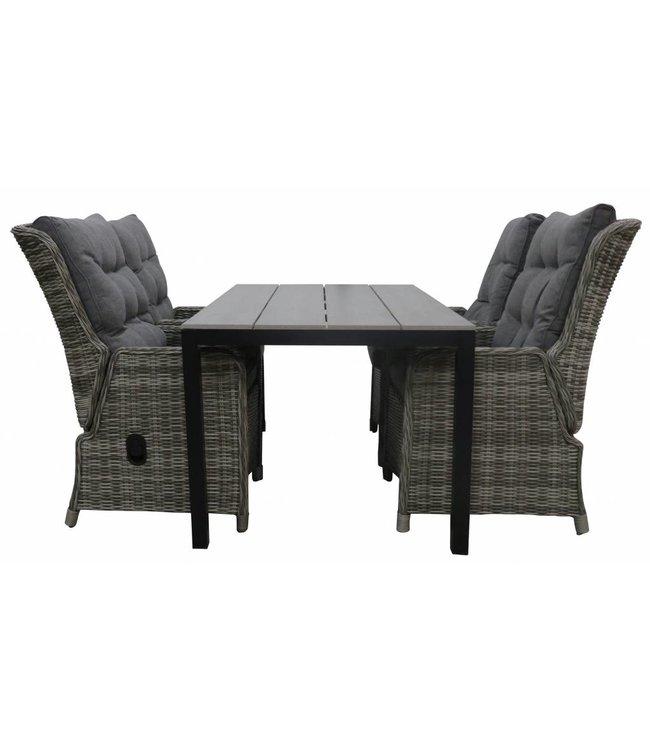 4 Seizoenen Tuinmeubelen 5-delige tuinset | 4 Dublin verstelbare stoelen (AG) | 160 of 180cm Cyprus tuintafel (Grey)