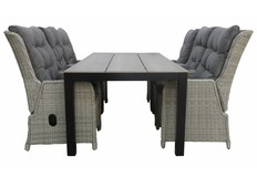 7-delige tuinset | 6 Dublin verstelbare stoelen | 225cm Cyprus tuintafel