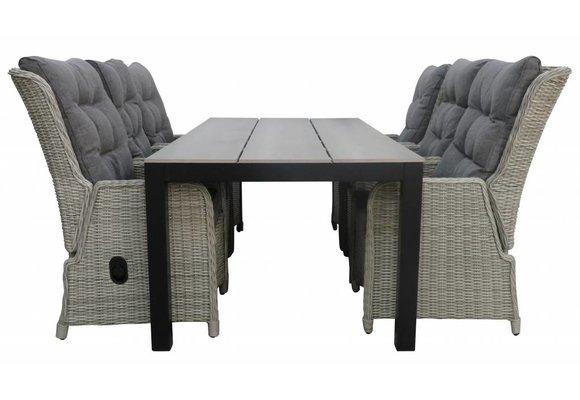 7-delige tuinset | 6 Dublin verstelbare stoelen (MG) | 225cm Cyprus tuintafel (Grey)