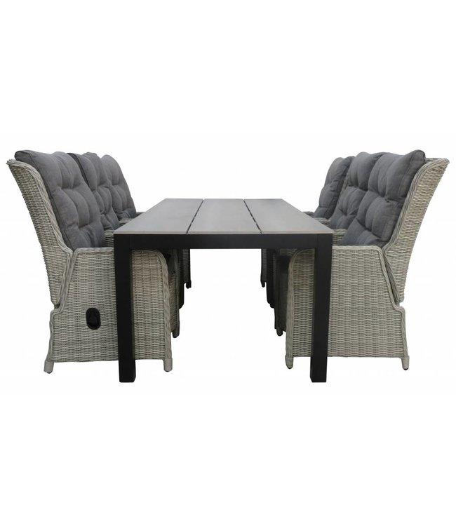 4 Seizoenen Tuinmeubelen 7-delige tuinset   6 Dublin verstelbare stoelen (MG)   225cm Cyprus tuintafel (Grey)