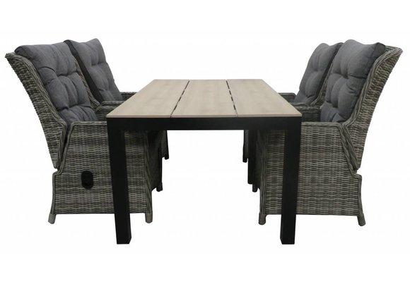 7-delige tuinset | 6 Dublin verstelbare stoelen (AG) | 225cm Cyprus tuintafel (Wood)