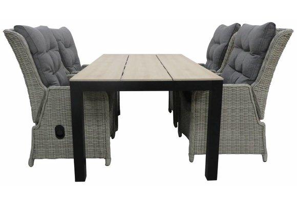 5-delige tuinset | 4 Dublin verstelbare stoelen (MG) | 160 of 180cm Cyprus tuintafel (Wood)