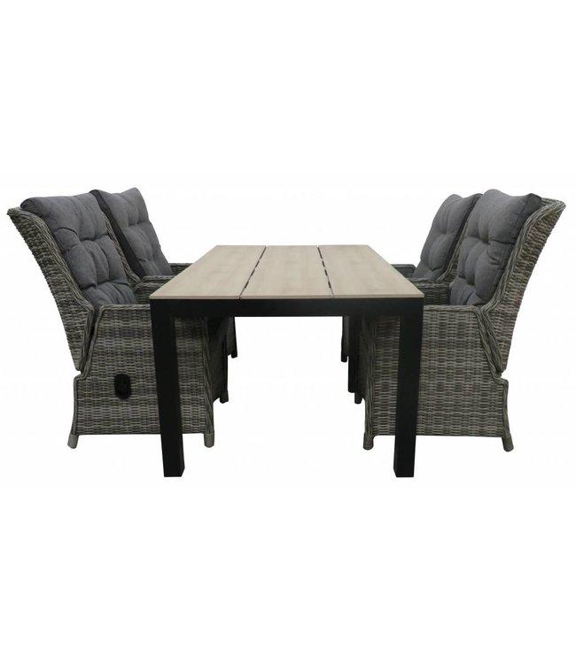 4 Seizoenen Tuinmeubelen 5-delige tuinset| 4 Dublin verstelbare stoelen (AG) | 160 of 180cm Cyprus tuintafel (Wood)