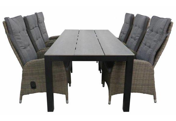 7-delige tuinset | 6 Kos verstelbare stoelen (SW) | 225cm Cyprus tuintafel (Grey)