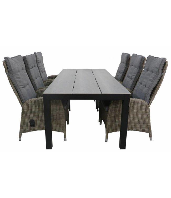 4 Seizoenen Tuinmeubelen 7-delige tuinset | 6 Kos verstelbare stoelen (SW) | 225cm Cyprus tuintafel (Grey)