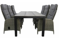 7-delige tuinset | 6 Kos verstelbare stoelen | 225cm Cyprus tuintafel
