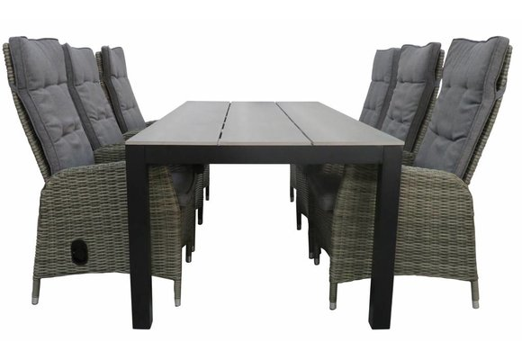 7-delige tuinset | 6 Kos verstelbare stoelen (AG) | 225cm Cyprus tuintafel (Grey)
