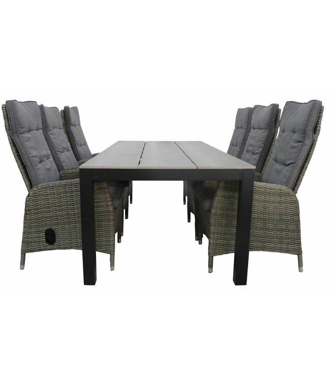 4 Seizoenen Tuinmeubelen 7-delige tuinset | 6 Kos verstelbare stoelen (AG) | 225cm Cyprus tuintafel (Grey)