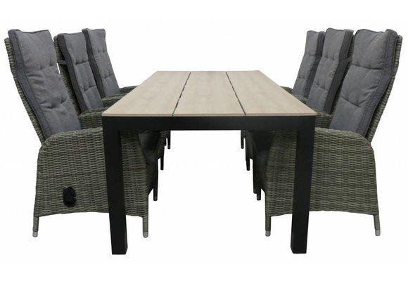 7-delige tuinset | 6 Kos verstelbare stoelen (AG) | 225cm Cyprus tuintafel (Wood)