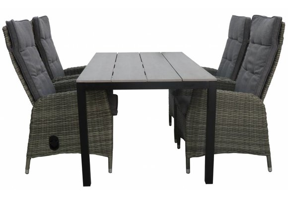 5-delige tuinset | 4 Kos verstelbare stoelen (AG) | 160 of 180cm Cyprus tuintafel (Grey)