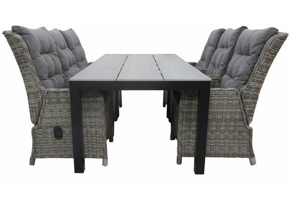 7-delige tuinset | 6 Dublin verstelbare stoelen (AG) | 225cm Cyprus tuintafel (Grey)