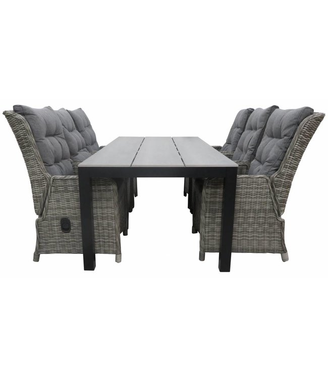 4 Seizoenen Tuinmeubelen 7-delige tuinset | 6 Dublin verstelbare stoelen (AG) | 225cm Cyprus tuintafel (Grey)