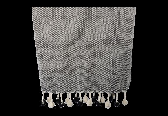 Plaid Pompon Black 125x150cm | Lesli Living