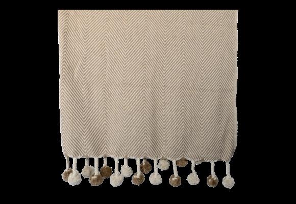 Plaid Pompon Brown 125x150cm | Lesli Living