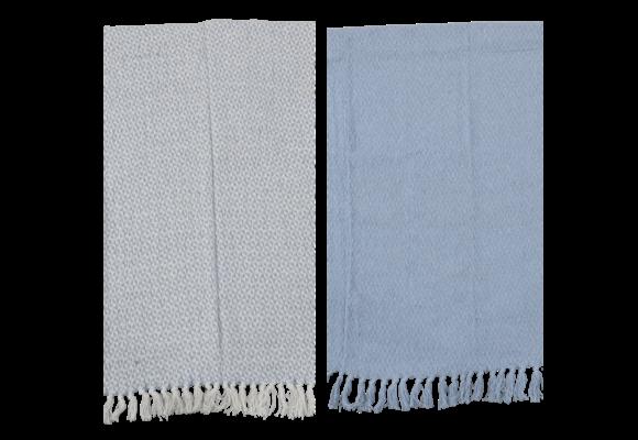 Plaids Linnen/Blauw 125x150cm | set van 2 stuks | Lesli Living