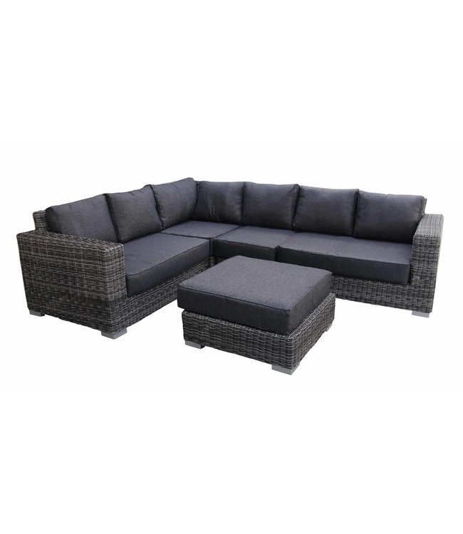 4 Seizoenen Tuinmeubelen Hoek Loungeset King | Dark Grey | Rond Wicker