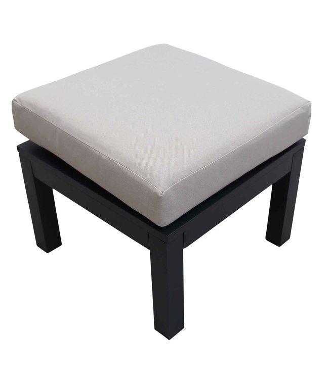 4 Seizoenen Tuinmeubelen Hocker Bezano | Matt Black/Off White | Aluminium