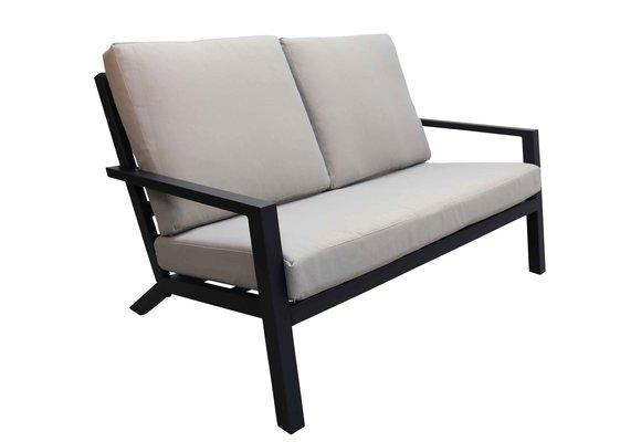 Loungebank Bezano | 2-persoons | Matt Black/Off White | Aluminium