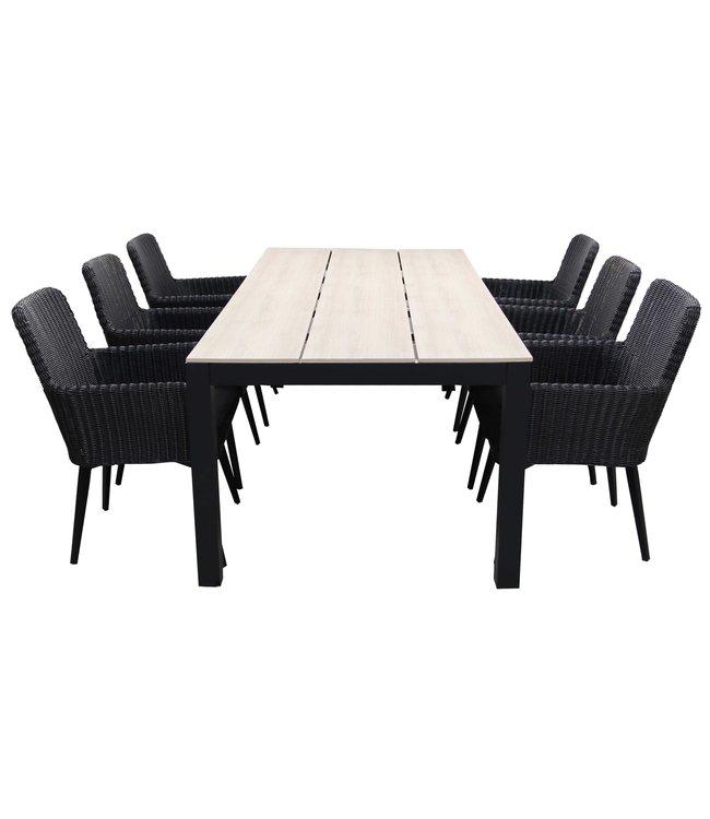 Wicker Eettafel Set Met 8 Stoelen En 4 Krukken Zwart.5 Delige Tuinset 6 Pisa Stoelen Black 225cm Tuintafel 4